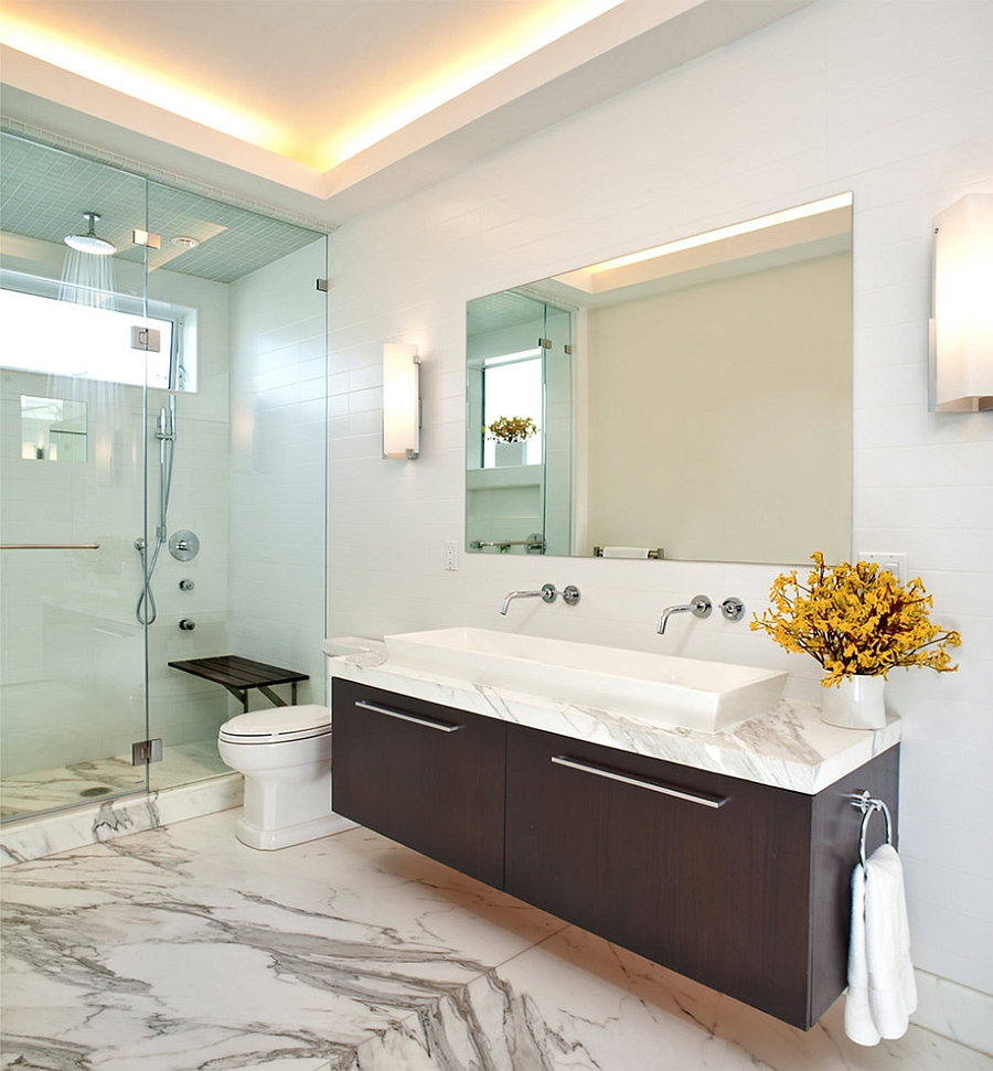 LED Lighting brings a unique aura to the bathroom [Design: Dumican Mosey Architects]