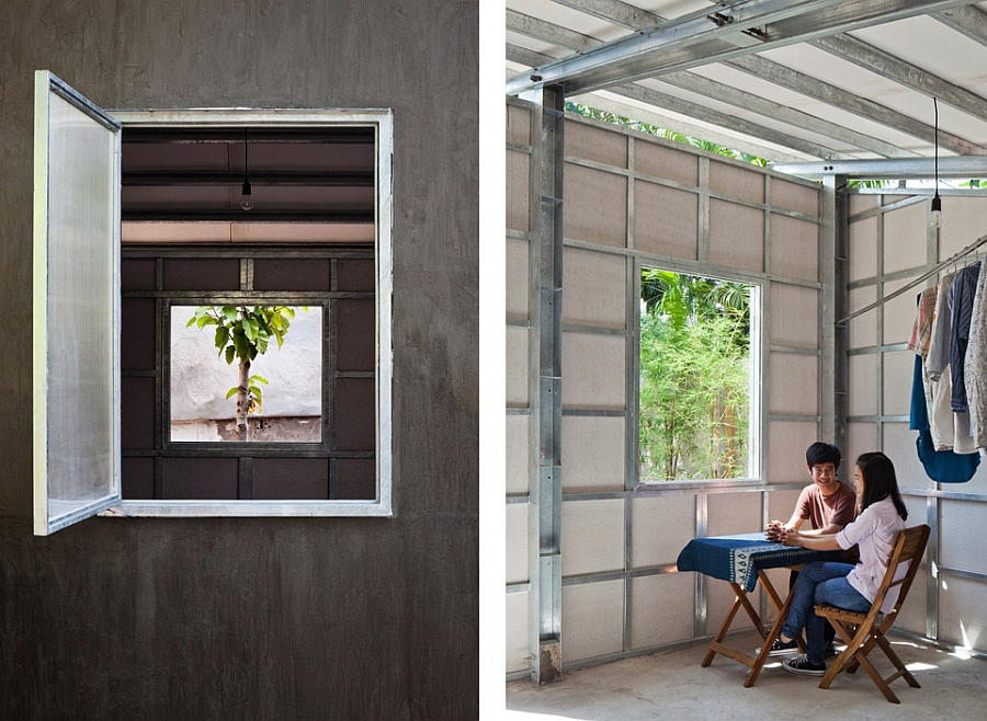 Large natural vents and windows help in passive cooling of the tiny prefab home