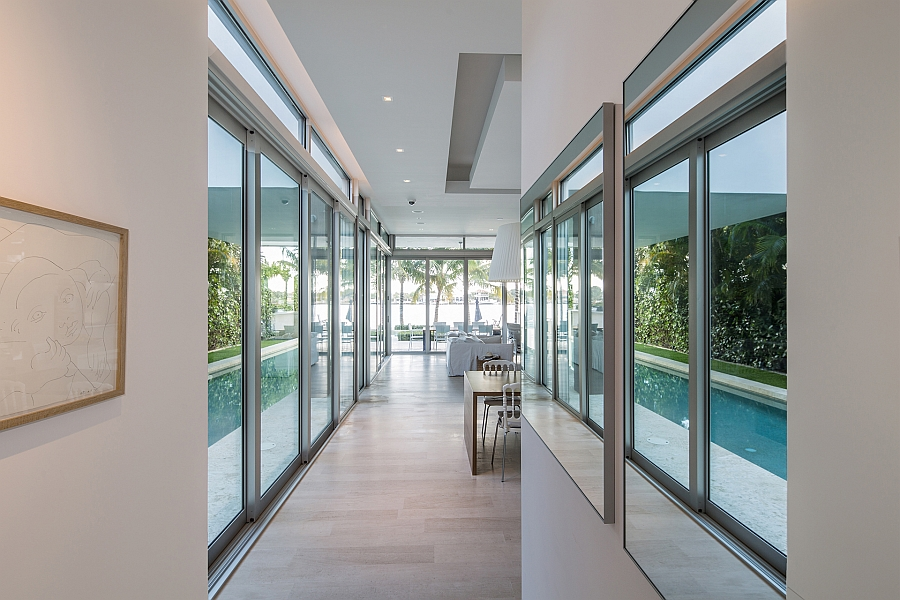 Large sliding glass doors and mirros give the interior an airy appeal