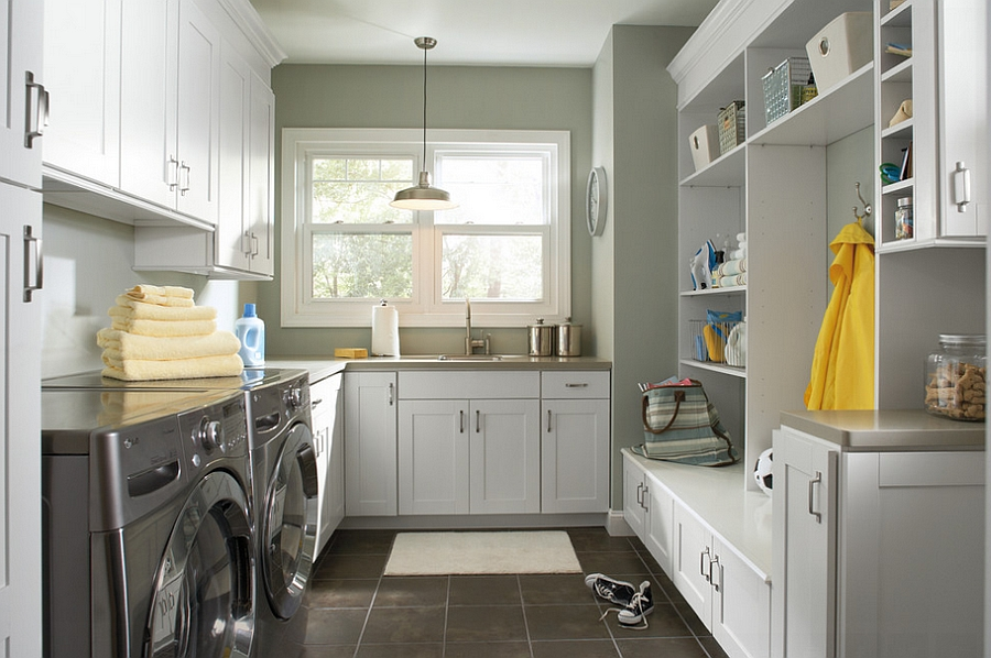 Laundry room and back entry combinations are both popular and practical [Design: Great Kitchens & Baths]
