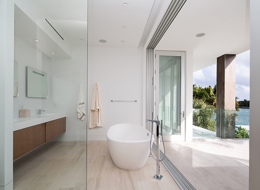 Lavish contemporary bathroom with bay views