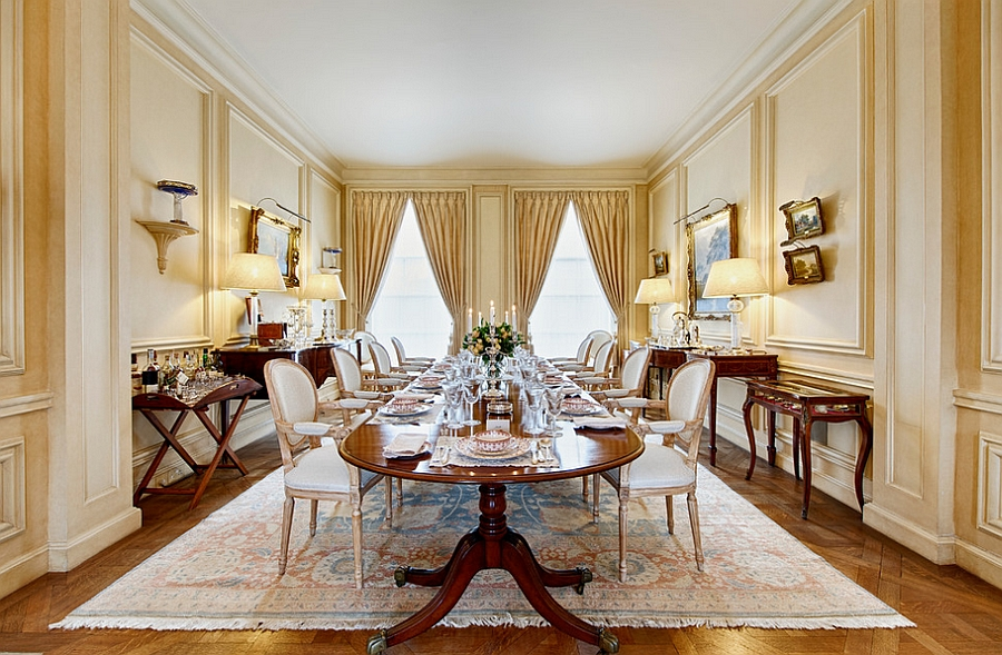 Lavish dining room has a lovely yellow aura [Photography: Marco Joe Fazio Studio]