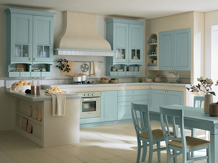 Light blue brings breezy elegance to the kitchen Village from Arrital: Classic Design Meets Modern Functionality