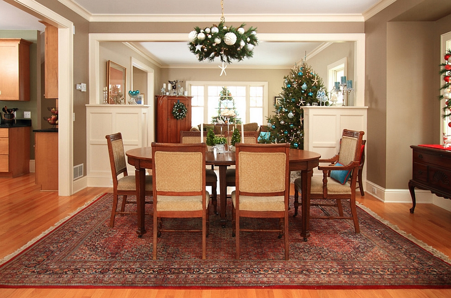 Living room holiday decorations add to the dining space ambiance [Design: the gudhouse company]
