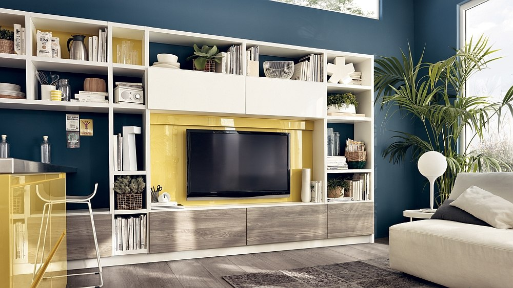 12 dynamic living room compositions with versatile wall for Living room storage units