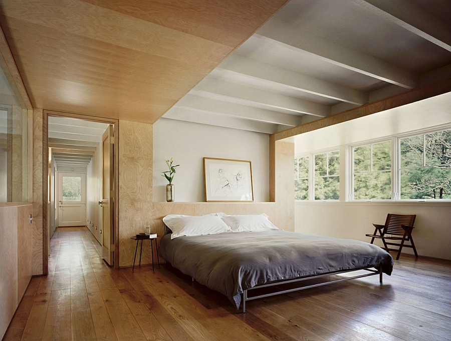 Historic barn in connecticut reconstructed into a loft for Bedroom designs plywood