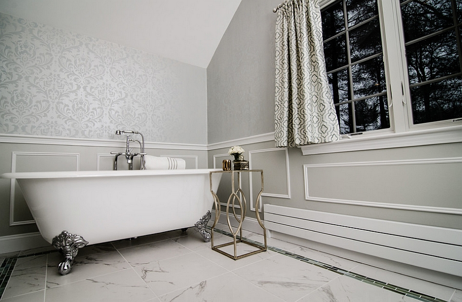 Luxurious bathroom with heated floor [Design: Megan Meyers Interiors]