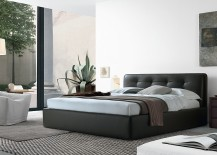 Luxurious bed and a cool beside storage unit for the contemporary home