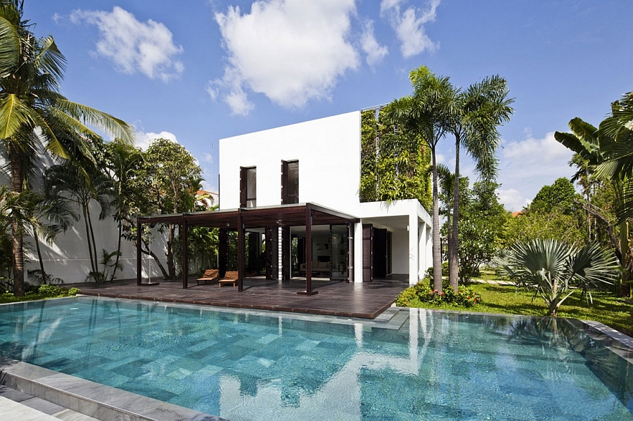 Luxurious pool area of the private villa in Ho Chi Minh