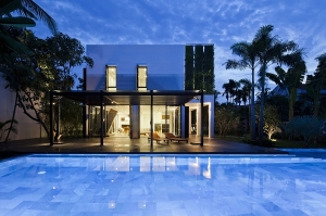 Luxurious villa with a grand pool and backyard