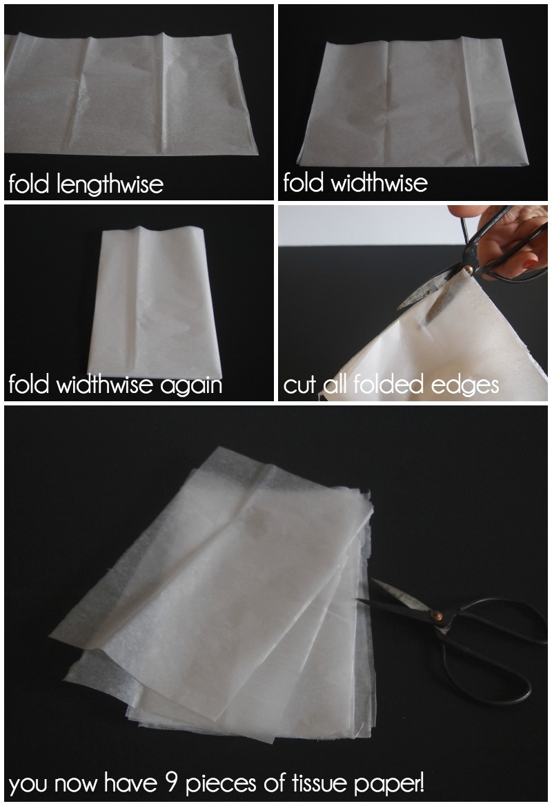 Making 9 tassels out of one sheet of tissue paper