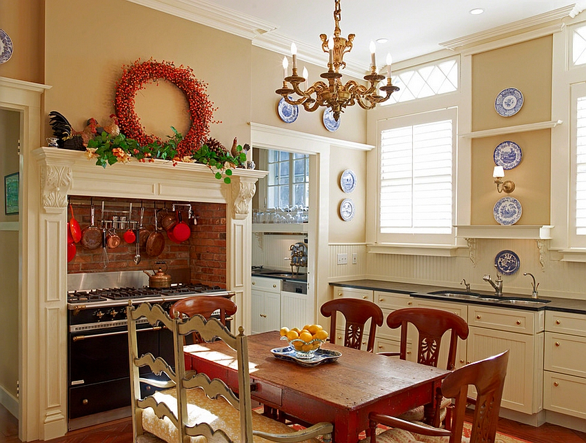 mantle decorating idea for the rustic kitchen design susan hunter interiors - Decorating Ideas Kitchen
