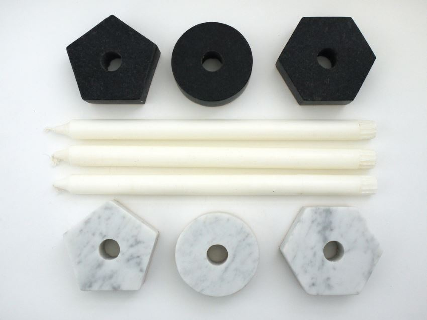 Marble candleholders from Fort Standard