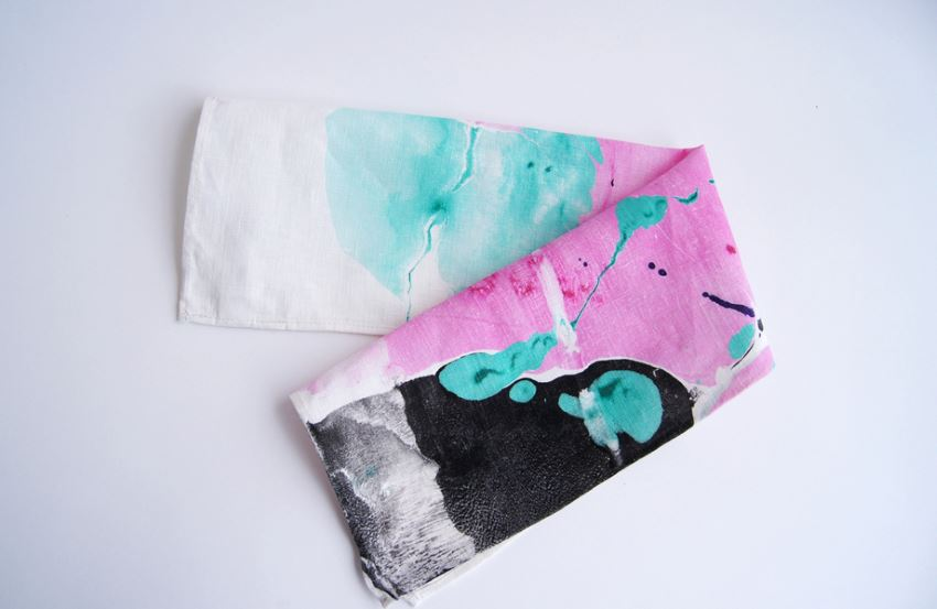 Marbleized textiles from Wind & Willow Design