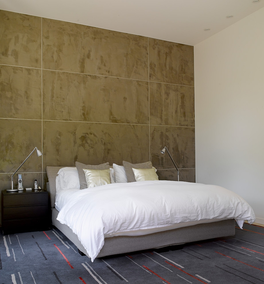 Milestone accent wall in the bedroom gives it an industrial vibe