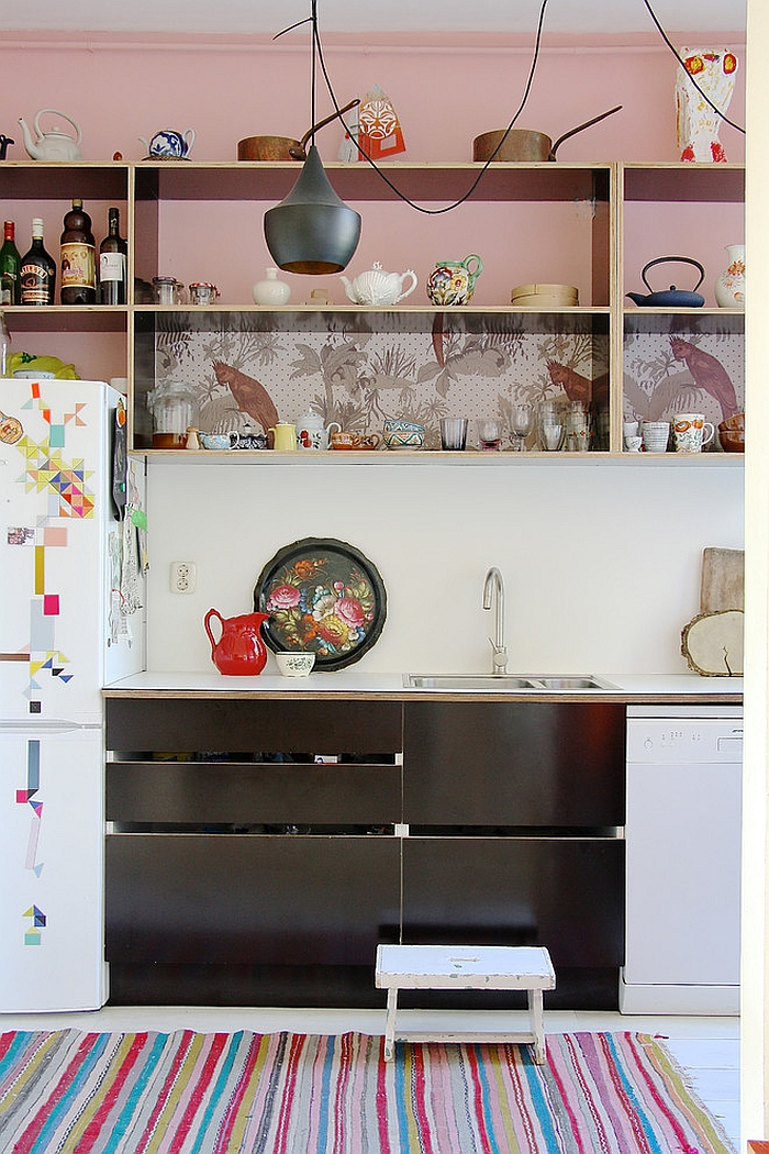 Mix color and pattern in the eclectic kitchen with wallpaper [From: Holly Marder]