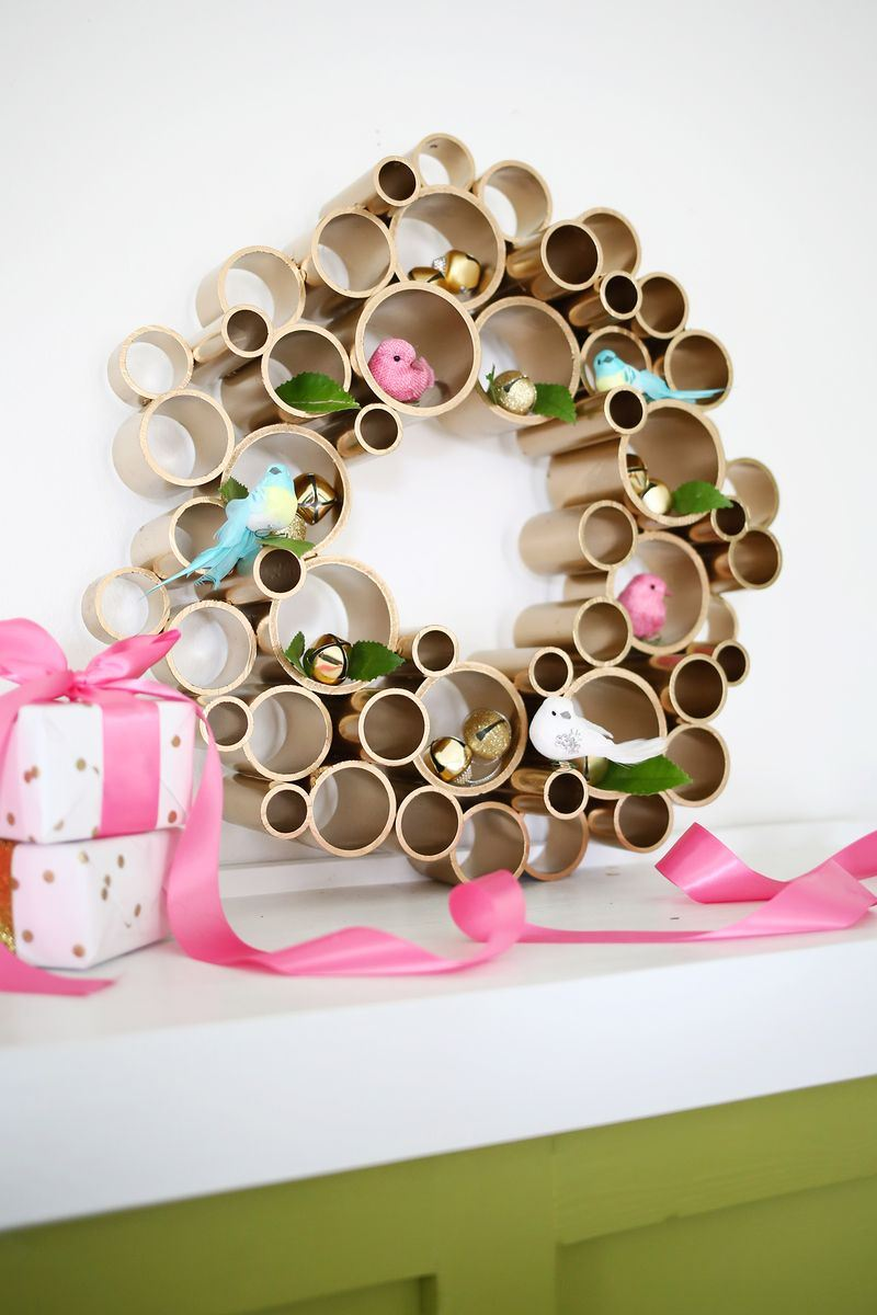 Modern wreaths for front door - View In Gallery Modern Pvc Pipe Wreath