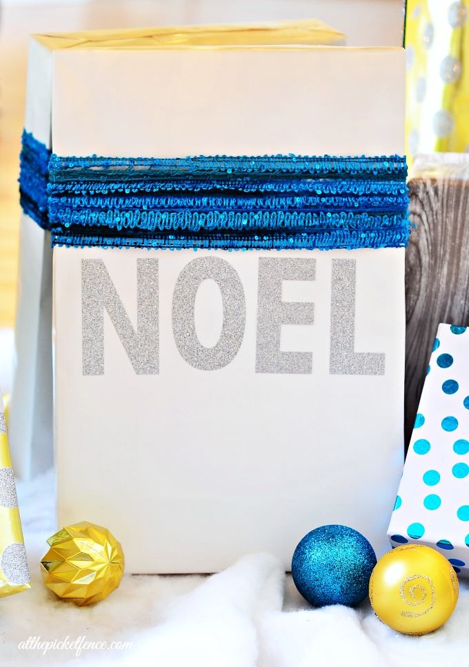 Modern sparkly gift wrap idea