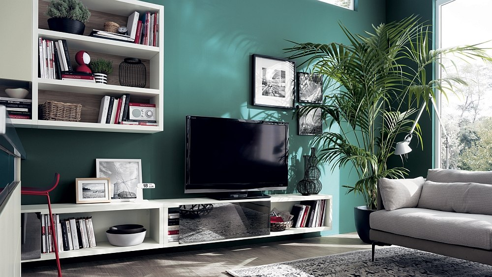 Motus living room design from Scavolini offers adaptable compositions