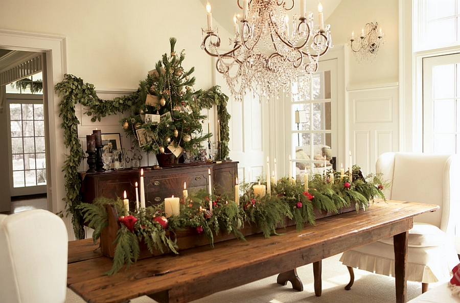 Natural Christmas dining table centerpiece steals the show! [Design: Laurel Ulland Architecture]