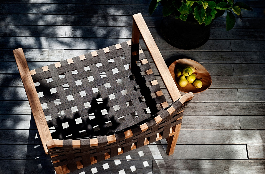 Natural canax weave shapes the smart outdoor chair