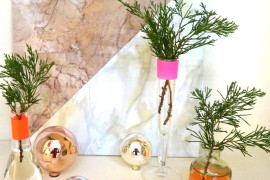 A DIY Christmas Centerpiece with Neon Accents