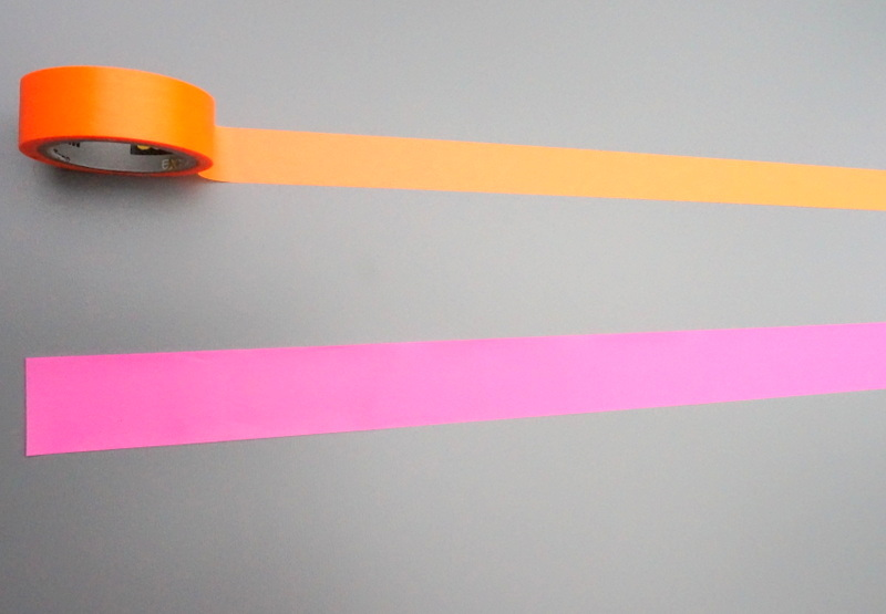 Neon flagging tape and washi tape
