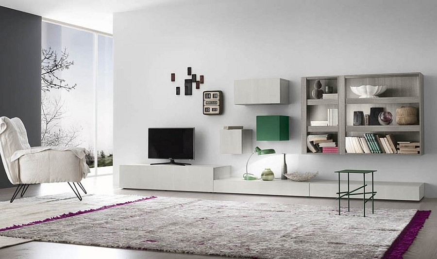 Open and closed wall units and bases shape the entertainment unit and day system
