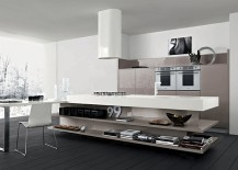 Open kitchen island shelves add elegance to the contemporary space 217x155 11 Contemporary Kitchen Compositions with Urbane Elegance