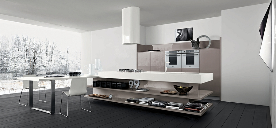 Open kitchen island shelves add elegance to the contemporary space