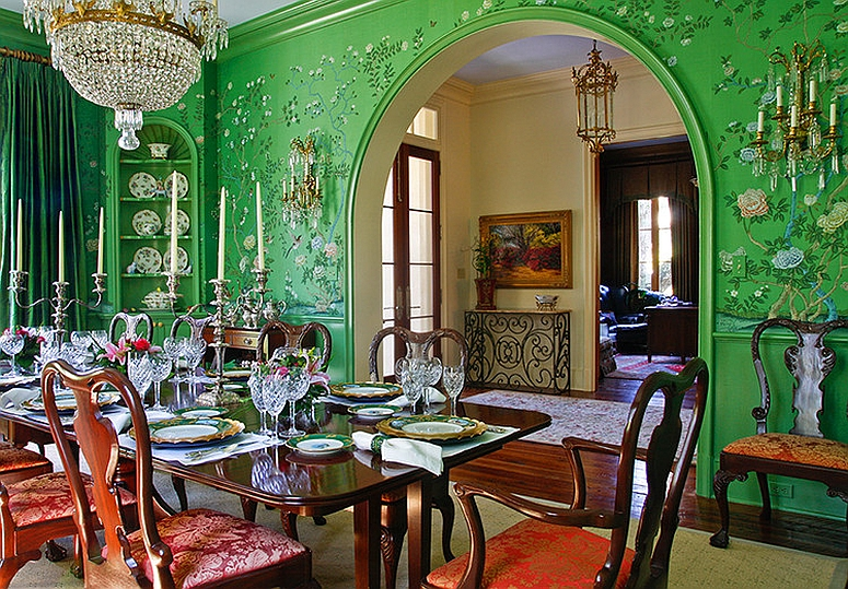 Ornate Asian style dining room in green [From: Chad Chenier Photography]