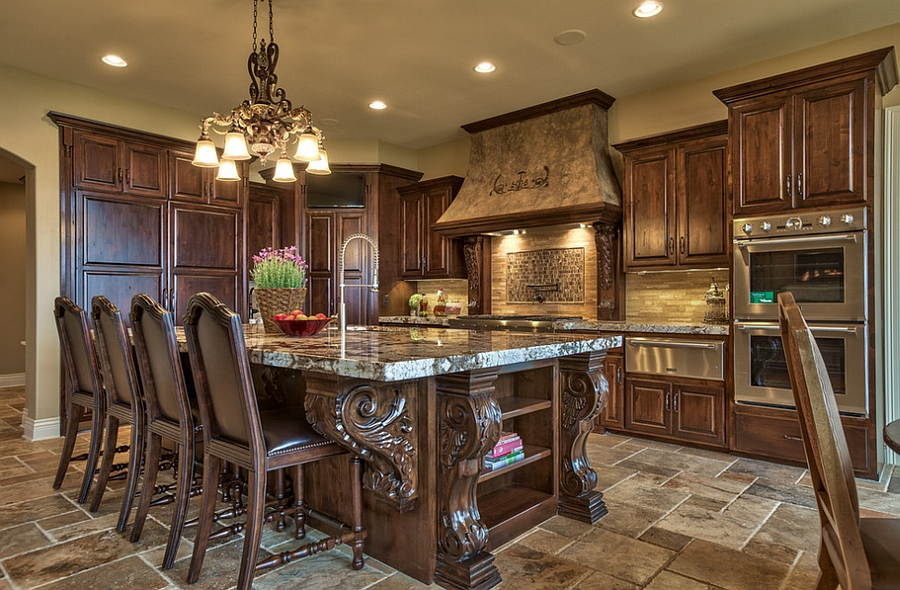 Ornate Kitchen Design With A Tuscan Inspired Island Design Inspired