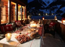 Outdoor dining space at the lovely Swiss Chalet