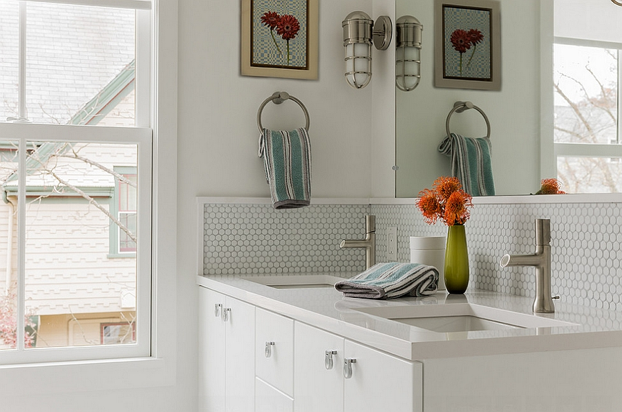 Painted wood trim highlights the penny tile section of the bathroom 20 Inspirations That Bring Home the Beauty of Penny Tiles