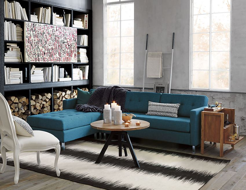 Peacock blue tufted sectional sofa from CB2