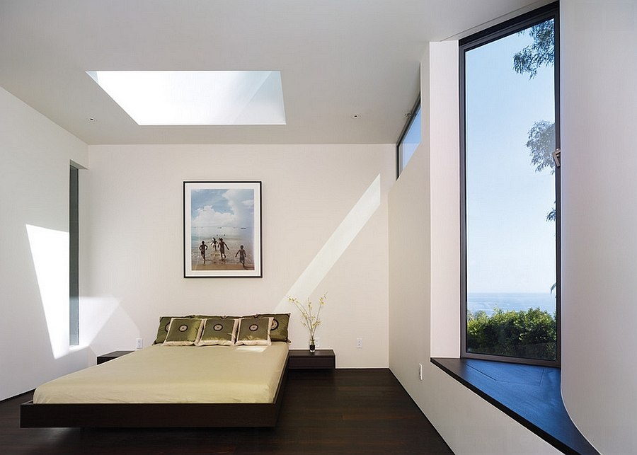 Peel-out window and skylight transform the ambiance of the bedroom [Design: Griffin Enright Architects]