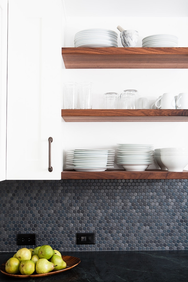 Penny tiles help recreate the aura of a 50s kitchen