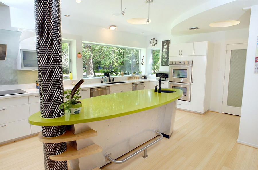 Pillar with penny tiles adds to the appeal of the custom kitchen
