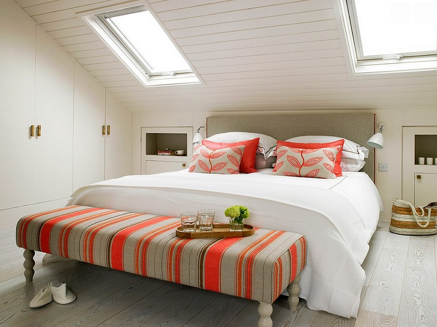 Pops of coral bring breezy charm to the beautiful bedroom