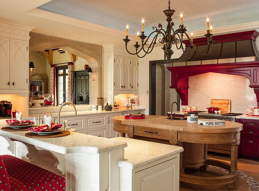 Pops of red enliven this kitchen [Design: Marble Crafters]