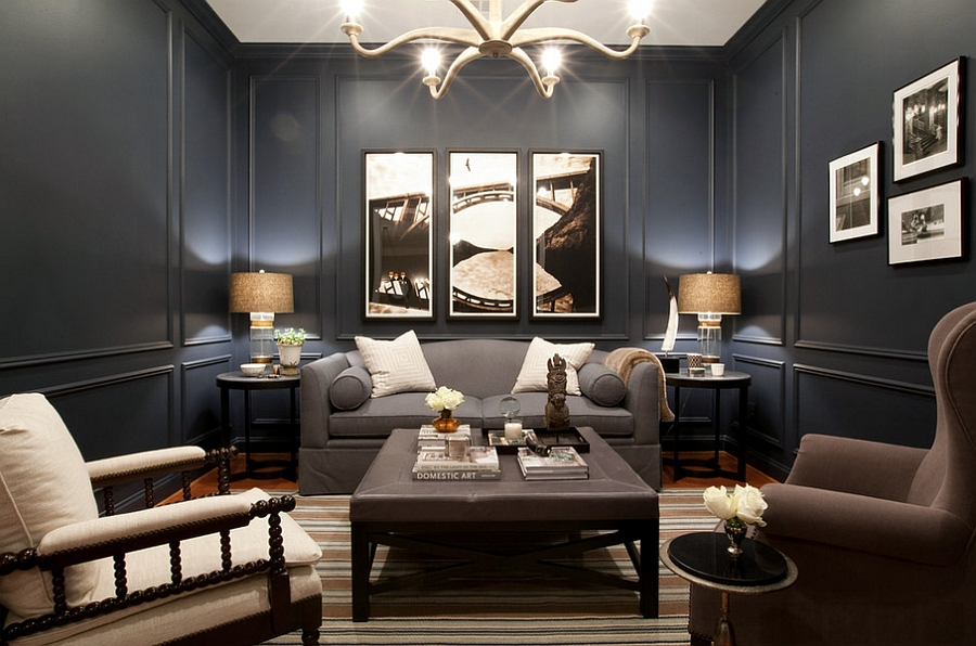 Posh bachelor pad embraces Navy blue [Design: Elizabeth Reich]