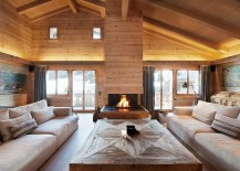 Pure and clean lines shape the interior of the chalet 217x155 Chalet Gstaad: Luxurious Holiday Retreat Nestled in the Heart of the Swiss Alps