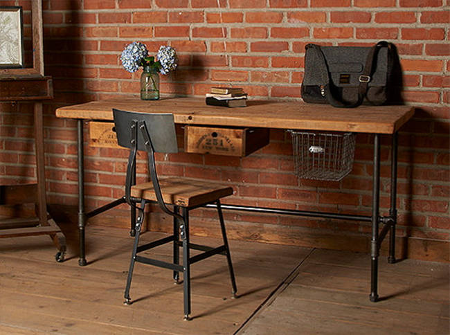 Reclaimed Wood Desk with Industrial Legs