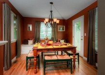 Red and green dining room has a casual, fun vibe