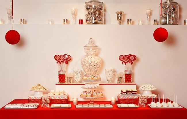 Red and white holiday dessert table