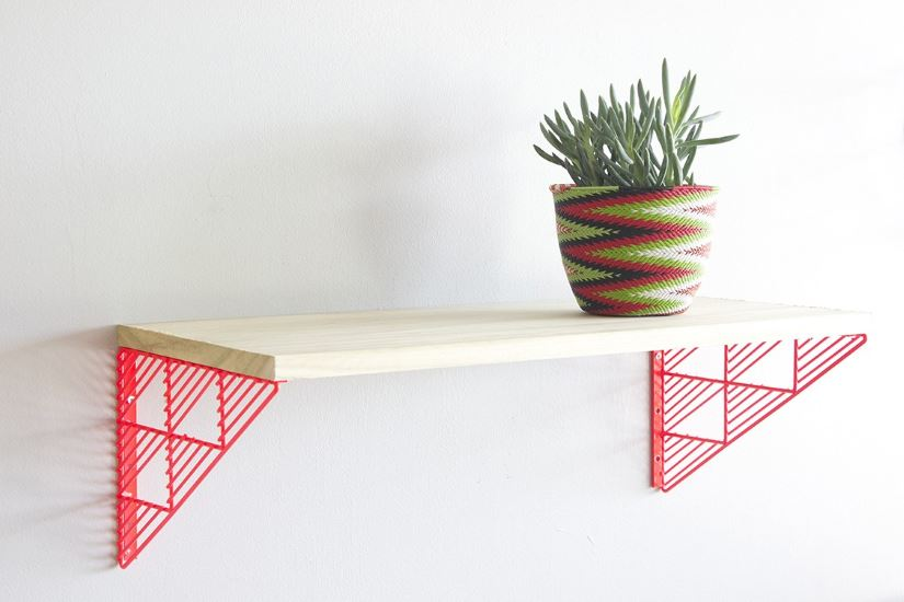 Red geometric wall brackets from Bend
