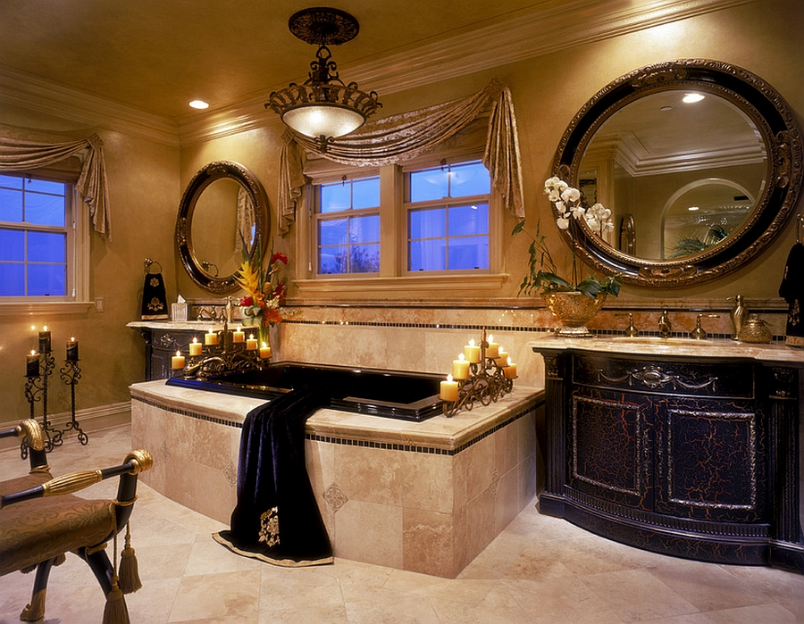 Regal Mediterranean bathroom in black and gold [From: Martin King Photography]