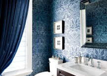 Rich blue damask wallpaper adds the wow factor to the space 217x155 20 Gorgeous Wallpaper Ideas for Your Powder Room