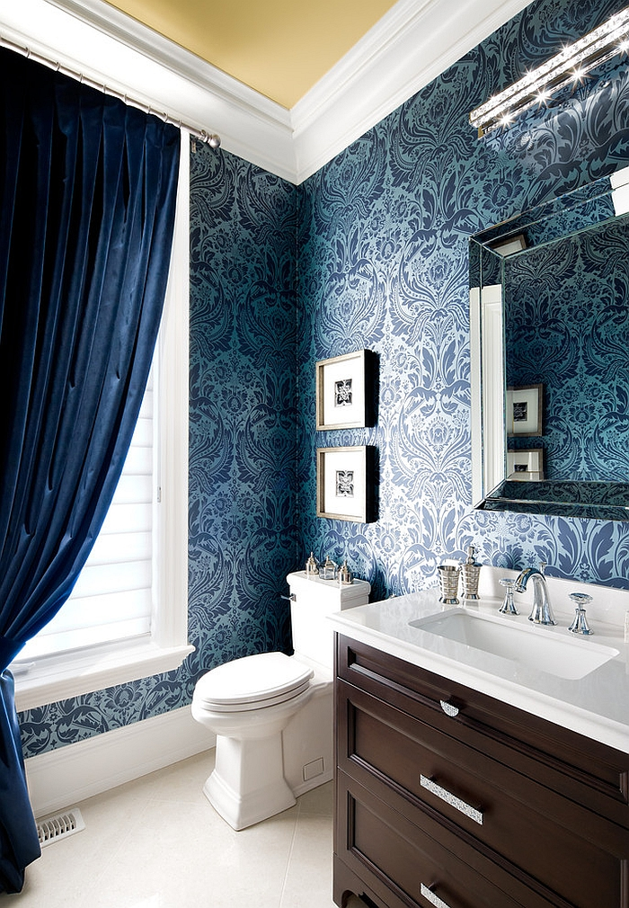 View In Gallery Rich Blue Damask Wallpaper Adds The Wow Factor To Space Design Jane Lockhart