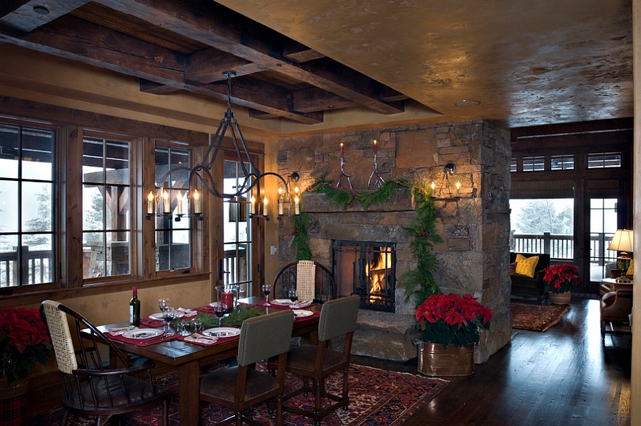 Rustic dining room perfect for family Christmas dinner